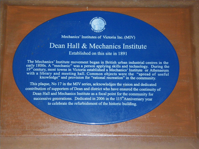 Photo of Dean Hall & Mechanics Institute blue plaque