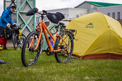 Cycle camping at the Shinotsu Park Camping ground (Shinshinotsu Town, Japan)