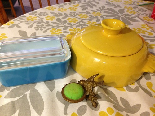 Pyrex, Frankoma, & cute pincushion finds from an estate sale.