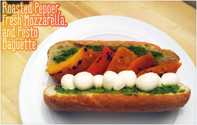 Roasted Pepper, Fresh Mozzarella, and Pesto Baguette