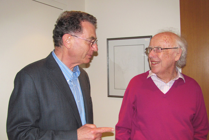 Istvan Hargittai and  James D. Watson in 2010 in the Watsons' home in New York City