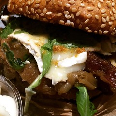 """The """"Autumn"""" burger with bacon, brie, and pumpkin spread. Omg. #food #foodie #yummy"""