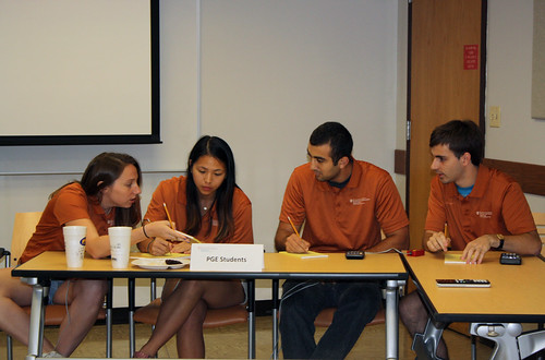 UT PGE's PetroBowl team competes against the faculty in preparation for the global competition in Dubai at SPE ATCE