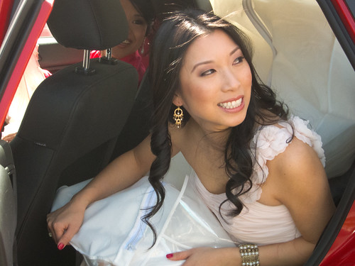 Dina in the car to the Wedding