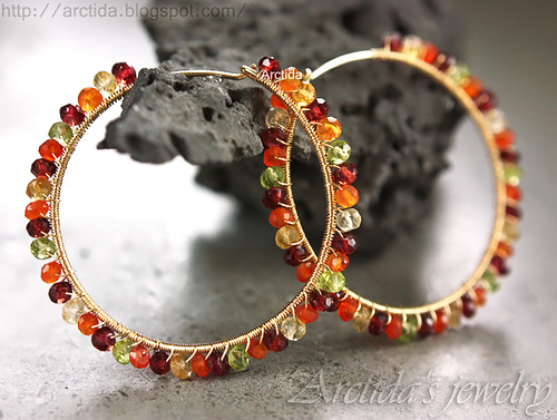 Gemstone hoops Carnelian Citrine Garnet Peridot hoop earrings in 14K gold filled. Handmade gemstone jewelry by Arctida.