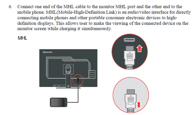 ThinkVision LT3053 MHL connector