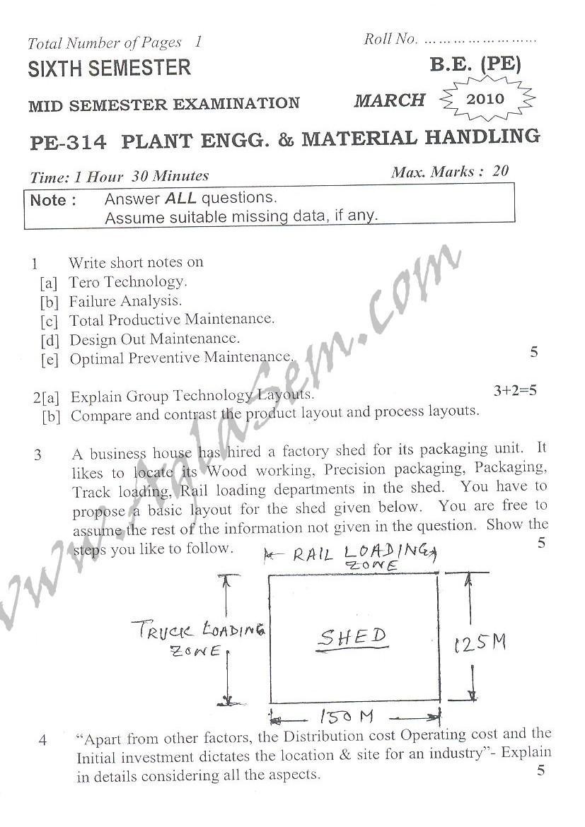 DTU Question Papers 2010 – 6 Semester - Mid Sem - PE-314