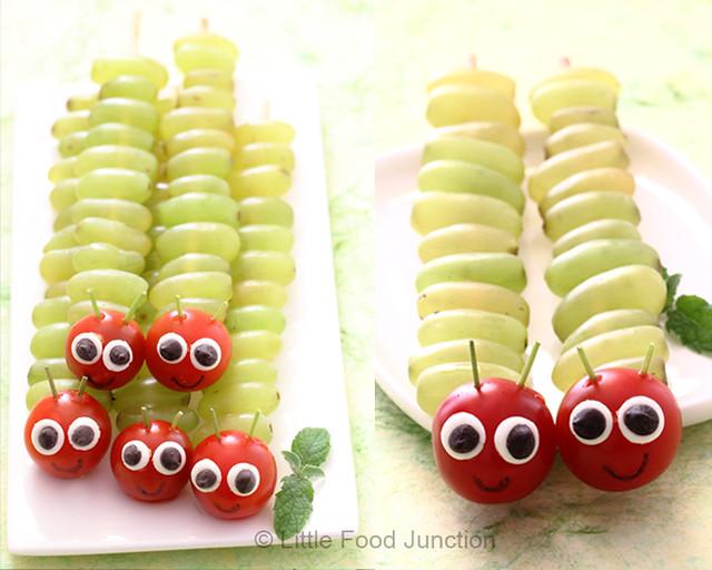 oruga de uvas - Meriendas Saludables Para Fiestas Infantiles