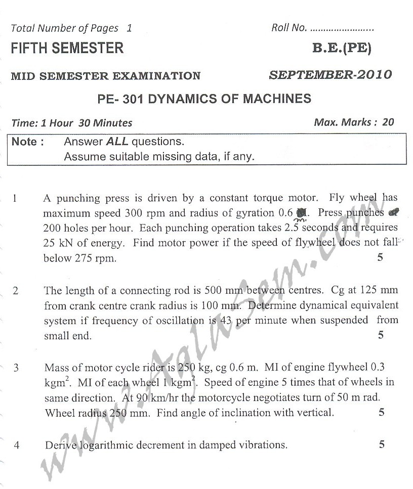 DTU Question Papers 2010 – 5 Semester - Mid Sem - PE-301