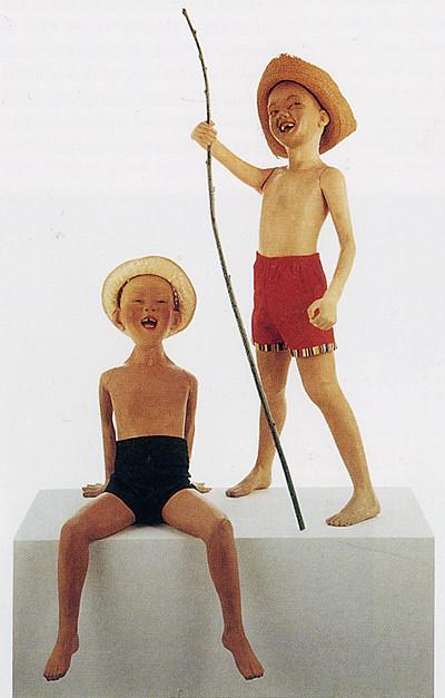 Morton Barlett - Seated Boy and Boy with Fshing Rod (c.1950)