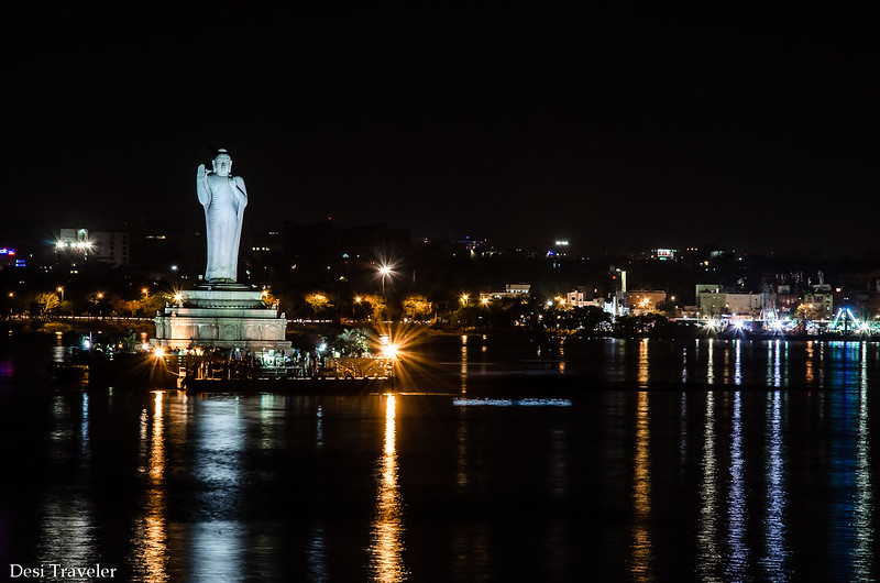 The 18 meter tall Buddha Statue Hussain Sagar in Night lights
