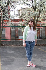 "Bradford Pear outfit: Polkadot AG ""Stevie Ankle"" jeans, thrifted white eyelet buttondown, mint green ""Jackie"" J.Crew cardigan, Modcloth candy-stripe flats, DIY nail-polish iPhone case, J.Crew pavé cable bracelet"