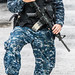 """These boots are made for walking"" / 持槍武裝美國海軍 Armed camouflaged US Navy / USS Peleliu (LHA-5) in Hong Kong / SML.20130418.6D.01504"