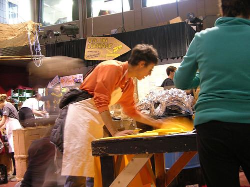MayDay 2013 cutting yellow cloth
