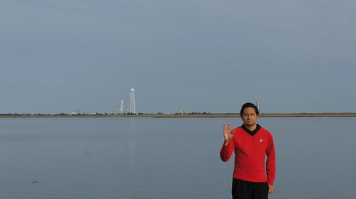 Goofing off in Starfleet Uniform at Arbuckle Neck Viewing Site