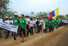 Lani Prunés walking alongside La Caminata, a march to demand reparations for violence displacement in Bolivar, Colombia