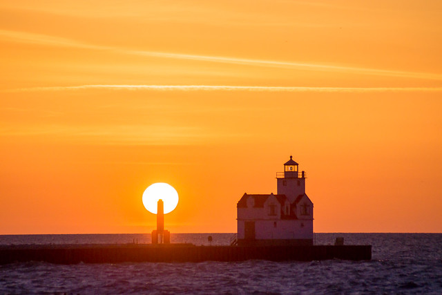 Lighthouse, Sunrise, Kewaunee, WI, Wisconsin, Lake Michigan, Sunset