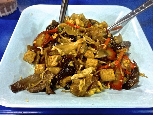 mixed mushrooms, tofu and vegetables with pad see ew noodles… delicious! just 30B at the south gate night market