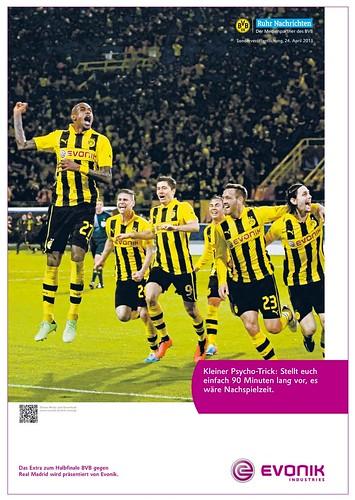 Werbung von Evonik zu Borussia Dortmund: Kleiner Psycho-Trick: Stellt euch einfach 90 Minuten lang vor, es wäre Nachspielzeit.