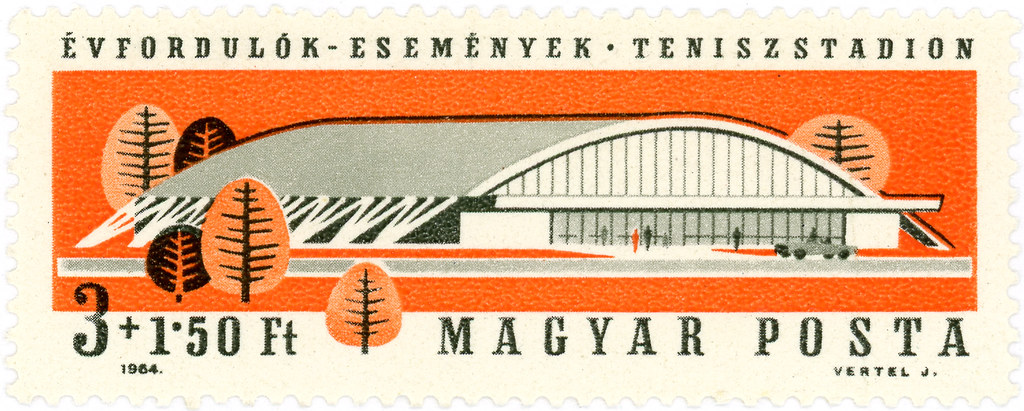 Hungary postage stamp: tennis stadium