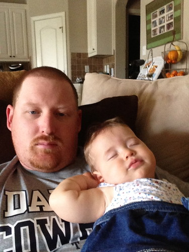 Dakota napping with Daddy