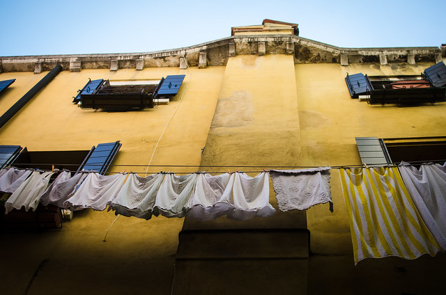 Colorful laundry in Venice, Italy