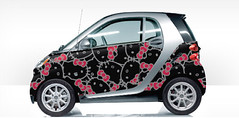 custom smart car hello kitty black