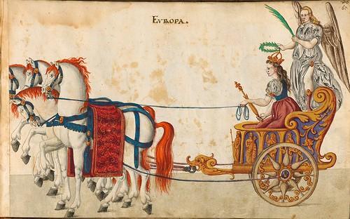 016- Cabalgata sobre los continentes-Europa-Descripción de las ocho festividades celebradas durante los juegos…1596-Biblioteca Estatal de Baviera
