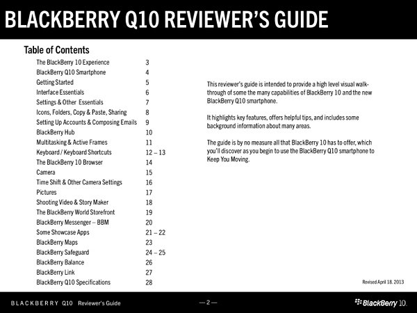 BlackBerry Q10 Reviewers Guide-001