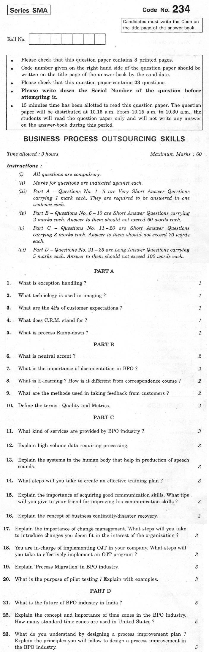 CBSE Class XII Previous Year Question Paper 2012 Business Process Outsourcing Skills