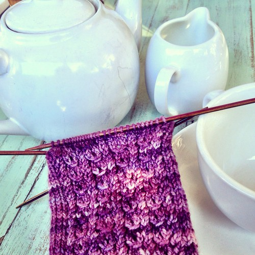 Tea and knitting. Berry