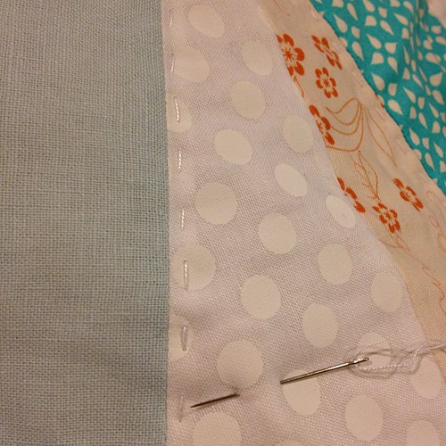 "This white on white fabric is NOT fun to Hand quilt.   :( the ""white"" is like paint.   Eww."