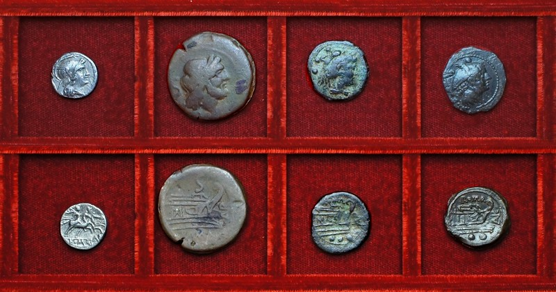RRC 065 AVR Aurunculeia quinarius, semis, quadrans, overstrike sextans, Ahala collection, coins of the Roman Republic