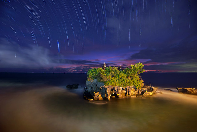 Startrails at Tanah Lot