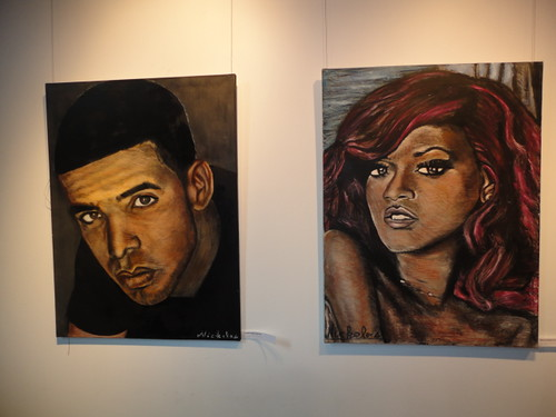 Nickolas Hadjan painting of Drake and Rhianna