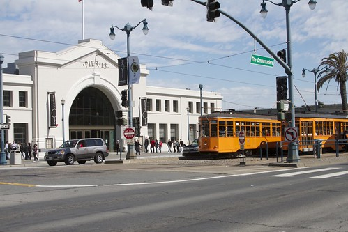 Pair of Vintage Street cars in front of the Exploratorium