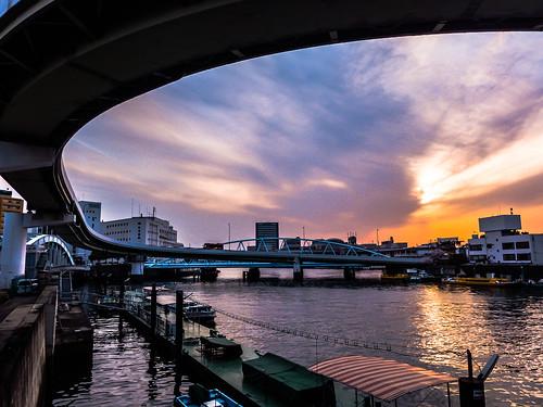bridge sunset building japan architecture river lumix landscapes osaka lx7