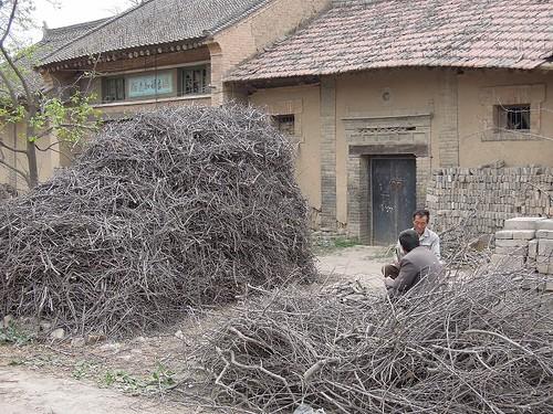 木の枝を割る村人