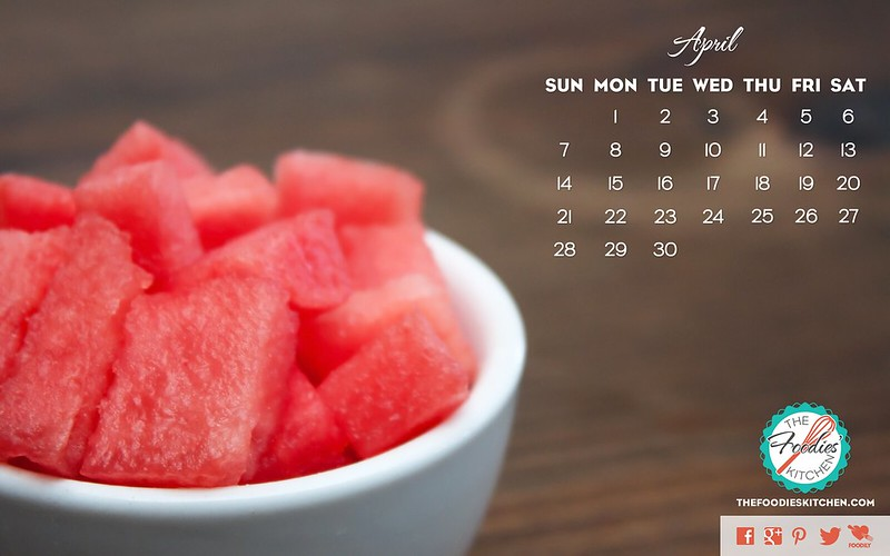 Foodies Freebie: April 2013 Desktop Calendar