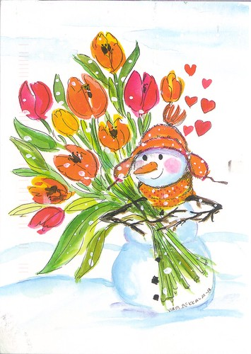 Snowman with Flowers for You Postcard