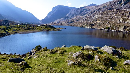county trip ireland lake mountains grass landscape day view lakes gap kerry hills clear picturesque dunloe