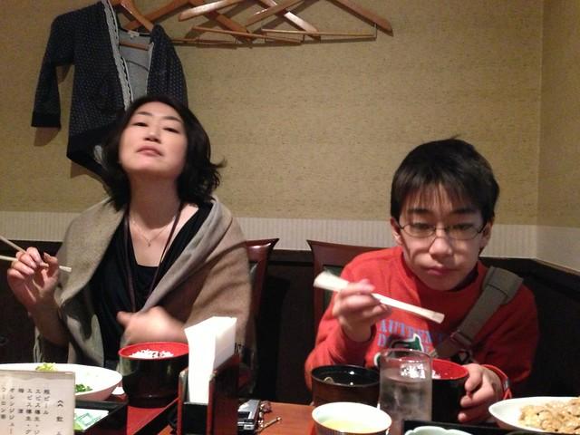 春休み、子供たちが御徒町に来て一緒に昼ごはんを食べたよ。