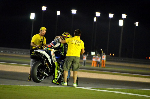 Valentino Rossi finishes 2nd in Qatar, Celebrates with fans!