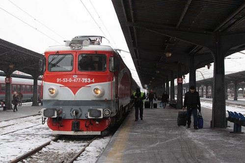 CFR Class 47 electric locomotive 477-753-4 on arrival at Bucharest North railway station