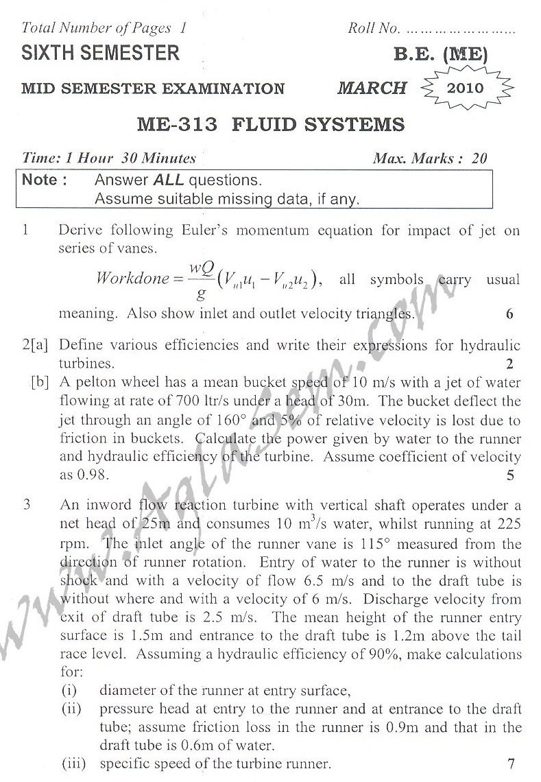 DTU Question Papers 2010 – 6 Semester - Mid Sem - ME-313