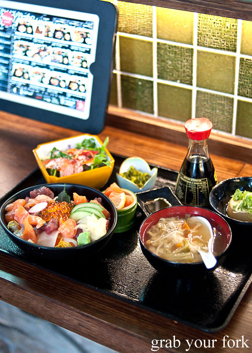 chirashi sushi lunch set at yebisu izakaya, regent place sydney