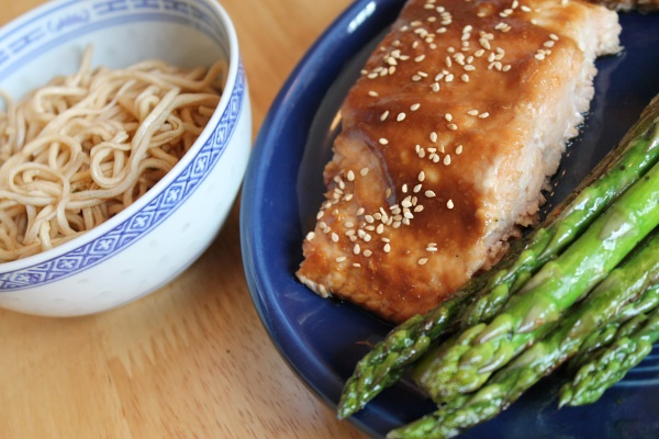 Miso Salmon, Garlic Scallion Noodles, & Asparagus