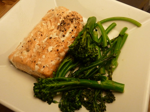 Baked Salmon and Sauteed Broccolini
