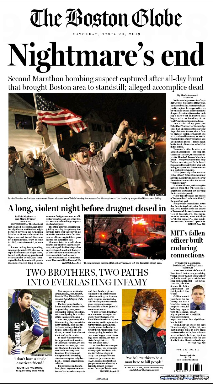 The Boston Globe April 20, 2013 Nightmare's end