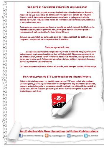 comunicat CGT F.C.Barcelona: eleccions F.C.Barcelona i les ETT´s